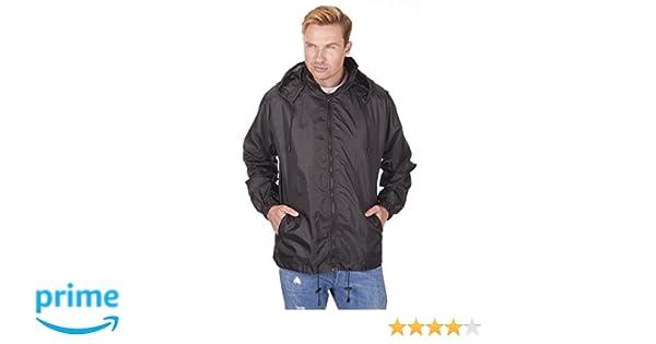 Protonic Mens Kag in a Bag Pack Away Rain Mac Full Zip Jacket Black S   Amazon.co.uk  Clothing 88bb74f298