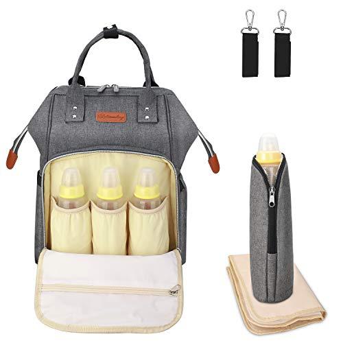 Multifunción pañal bolsa de pañales cambiador de viaje, gran capacidad mochila bolsa reutilizable, ligero elegante Durable Mochila con bolsillo botella aislante para mamá y papá (Gris)