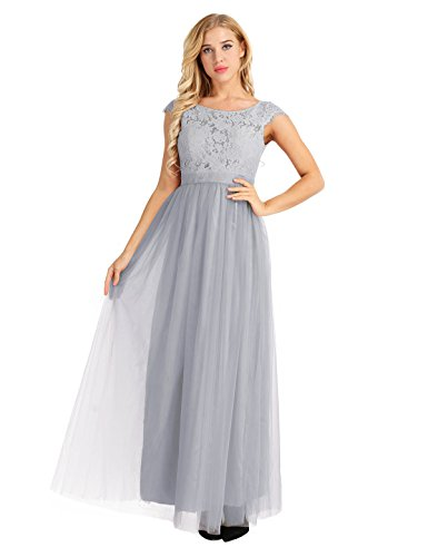 iiniim Women's Vintage Elegant Floral Lace Cap Sleeves Evening Prom Ball Gown Long Maxi Wedding Bridesmaid Dress Grey 8