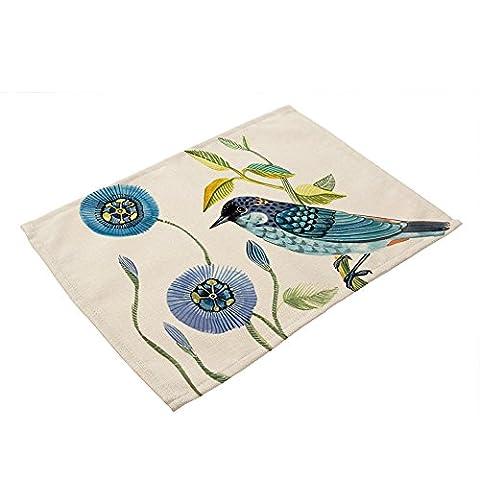 Oiseaux Set de table Ensembles de 4pièces–Memorecool Coton Lin rustique Sentiments peinte à la main Motifs 43,2x 33cm, Coton, bird1, 17x13inch