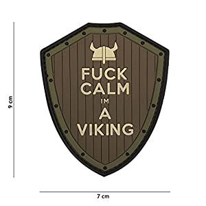 Patch 3D PVC Fuck Calm I m a Viking Marron et Vert / Cosplay / Airsoft / Camouflage