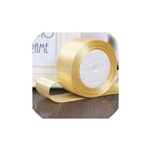 25yards / Rolle 6mm 10mm 15mm 20mm 25mm 40mm 50mm Silk Satin-Bänder Kunsthandwerk Nähen Band Kunsthandwerk Materialien Geschenkverpackung, Pale Gold, 10mm