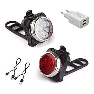 AMANKA Luces Bicicleta LED, Luz para Bicicleta Recargable por USB Conjunto de Luces Delantera y Trasera para Bicicleta 4 Modo 650mAh Reflector Bici Seguridad Faro de Señal