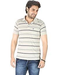 Basilio Men's All Over Stripes Printed Polo Neck Cotton T-Shirt