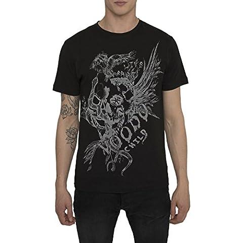 Camisetas de Algodón para Hombre, T Shirt Rock, Camiseta Negra, Gris con Estampada - EAGLE VOODOO Cool Fashion Tattoo Design, Cuello redondo, Manga corta, Ropa Moda Designer S M L XL XXL