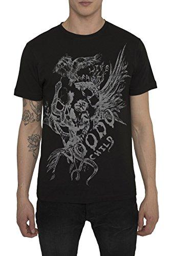 magliette-urban-moda-da-uomo-t-shirts-fashion-vintage-rock-maglietta-nera-grigia-di-cotone-girocollo