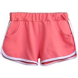 Rcool - Pantalón deportivos para Mujer - Pantalones Cortos De La Yoga De La Cintura De Algodon Pantalón Deportivos De Playa Al Aire Libre Ocasionales De Los Entrenamiento Gimnasio (S, Rosa)