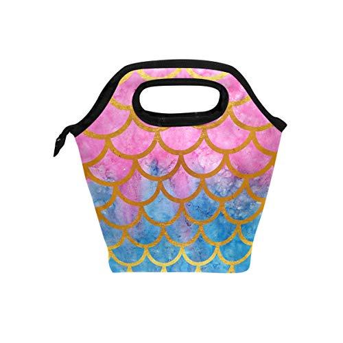 hunihuni Mermaid Maßstab Isolierte Thermo Lunch Kühltasche Tote Bento Box Handtasche Lunchbox mit Reißverschluss für Schule Büro Picknick