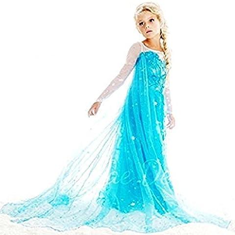 Mntllbl Traje Frozen tamaño 100 2-3 años de nieve vestido reina Tren Azul Azul niñas