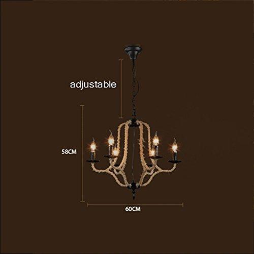Kaffee Kleidungsstück (O&YQ Deckenlampe Hanfseil Kaffee Esszimmerlampe Kleidungsstück Shop Dekorative Lichter Sechs Köpfe Beleuchtung Bevorzugt, a)