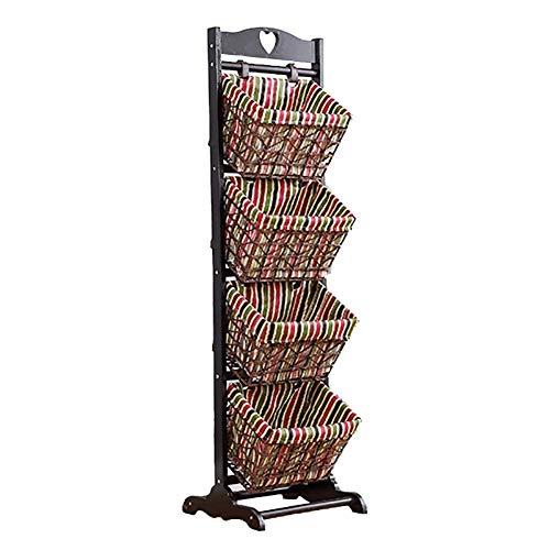 LX&Home Ablagekorb Regal Körbe 4 Tier Holz Rattan einreihig abnehmbare Zeitungsständer (Farbe: Leder Schnalle) / Schnabel aus Leder