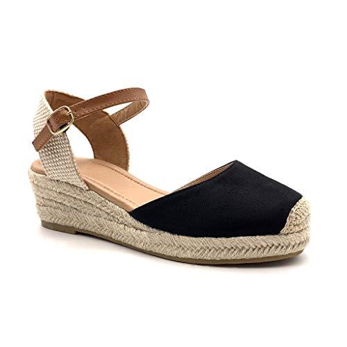 5da0c15bac0133 Angkorly - Damen Schuhe Sandalen Espadrilles - Strand - praktisch handlich  - Bequeme - Basic - Basic - mit Stroh Keilabsatz 5 cm - Schwarz 2 BL252 T 38