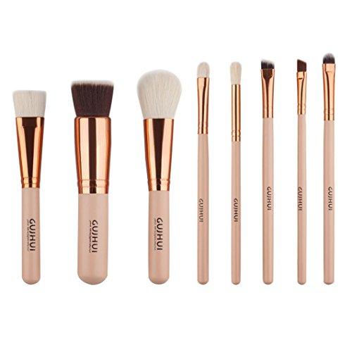 pinceaux de maquillage, Yogogo 8pcs Coffret Essentiels Pinceaux de maquillage professionnels Cosmétique Brosse à paupières Or B