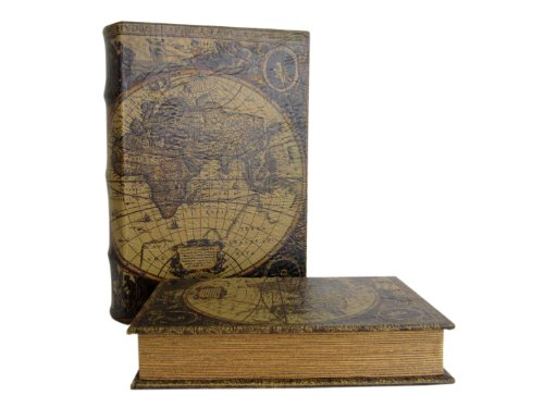 Geldversteck ~ Weltkarte ~ Gr. XL im antik Design Schmuckschatulle Box Kiste Buchsafe