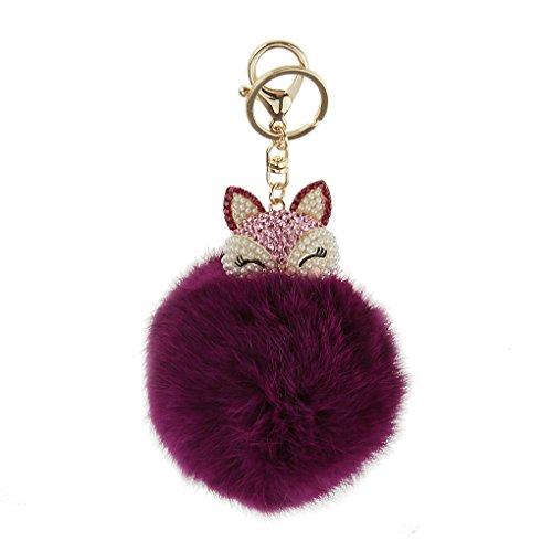 FakeFace Unisex Fashion Kugel Schlüsselanhänger aus Perle Fuchs Plüsch, Schlüsselring Schlüsselbund Fahrzeugschlüssel Taschenanhänger Handtaschenanhänger für Handy Auto Tasche (Lila) (Wohnungen Chanel)