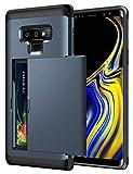 Galaxy Note 9 Hülle, 2-teilige Handyhülle mit Kartenfach Doppelte Schutzschicht Silikon TPU + PC Case Extrem Hoher Fallschutz Card Holder Cover für Galaxy Note 9 (Galaxy Note 9, Dunkelblau)