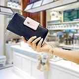 Auger Multi-Card Position Zwei Falten Lange Reißverschluss Geldbörse Lange Reißverschluss-Mappen-Handhandtasche der Frauen Dunkelblau - 7