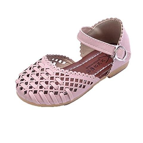 Mädchen Sandalen, FNKDOR Modische Flache Prinzessin Schuhe, 21-30 (29 Fußlänge:17.7CM, Rosa) (Golfschuhe Kinder 30)