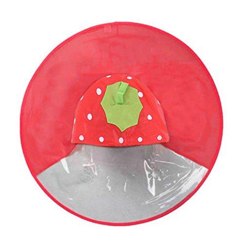 - Mingfa süßer Comic-Regenmantel-Schirm, UFO-Regenmantel, faltbar, wiederverwendbar, wasserdichter Poncho, für den Kopf, Draußen, für Kinder, Jungen und Mädchen, S, rot, 1