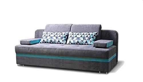 Couch mit Schlaffunktion und Bettkasten Sofa Schlafsofa Wohnzimmercouch Bettsofa Ausziehbar - MODO (Grau)