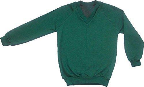 Schuluniform Erwachsene Damen Herren Vlies V-Ausschnitt Sweatshirt Pulli UNI Only Uniform - Flaschengrün, Large