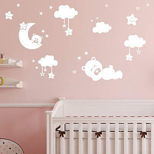 Yzybz Einfarbig Niedlichen Bären Wolke Mond Stern Wandaufkleber Poster Vinyl Wandtattoos Für Kinder Kinderzimmer Wandbild Diy ()