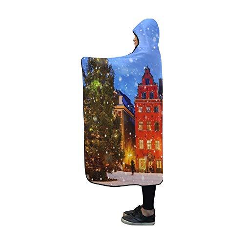 JOCHUAN Hooded Blanket Christmas Holm Schweden-Decke 60 x 50 Zoll Comfotable Hooded Throw Wrap -