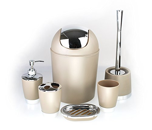 6-Piece Bathroom Accessory Set incl. Soap Dispenser and Toilet Brush Bathroom Set beige