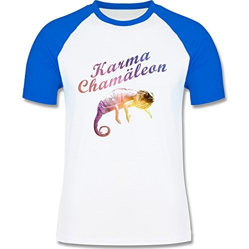 Statement Shirts - Karma Chamäleon - zweifarbiges Baseballshirt für Männer Weiß/Royalblau
