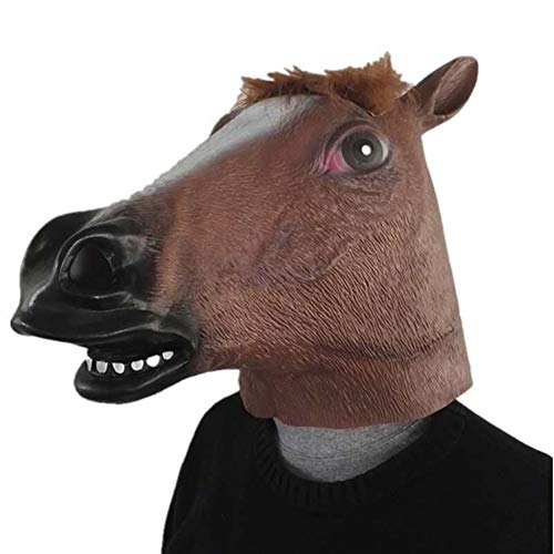 2019 Einhorn Pferdemaske Halloween Creepy Party Deluxe Neuheit Kostüm Party Cosplay Prop Latex Gruselkopf Vollgesichtsmaske (Color : Horse) (2019 Michaels Halloween-dekoration)