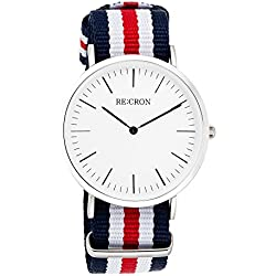 "RE:CRON women watch stainless steel 36 mm 1.42"" with textile wristband nylon maritime dark blue red and white"