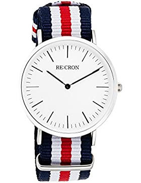 RE:CRON Unisex Armbanduhr Edelstahl 40 mm mit Textilarmband Nylon maritim dunkelblau rot und weiß