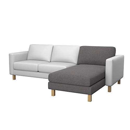 Soferia - Bezug fur Ikea KARLSTAD Anbau Recamiere, Glam Grey
