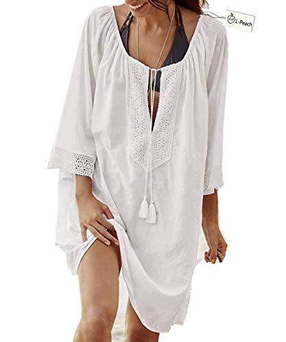 L-Peach Damen Bikini Cover Up Sommer Lose Baumwolle Spitze Tunika Langes Shirt Überwurf Baumwolle Strandkleid Sommerkleid One Size