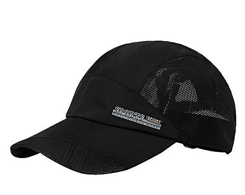Da uomo, a maglia cappello da baseball Cap quickly-dry Summer Sun protezione campeggio pesca Golf visiera cappello leggero pieghevole da viaggio spiaggia cappello UPF 50+, Black