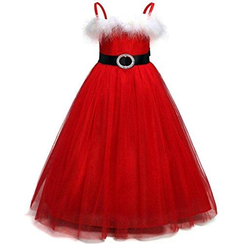 Weihnachtskostüm Festliche Mädchenkleider Hirolan Prinzessin Tutu Kleid Netze Performance Rock Weihnachten Babykleidung Geschirr Partykleider Cocktailkleider Knielang Ballkleider (Schicke Rot, 140) (Multi-striped Pullover)