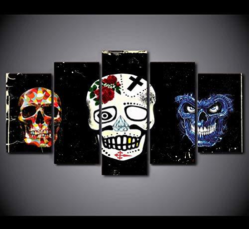 derne Abstrakte Malerei Halloween Wandbilder Für Wohnzimmer Dekor 5 Panel Maske Leinwand Poster ()