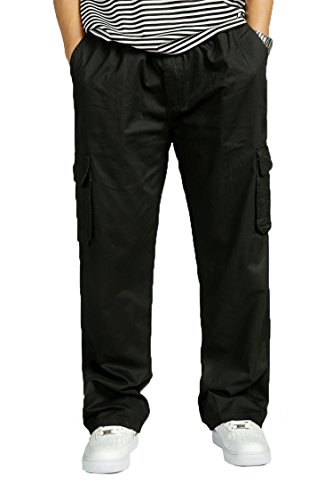 Herren Cotton Cargo elastische hohe Taille locker geschnittene Freizeit Hose black 5XL (Mädchen Snowboard-anzug)