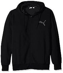 PUMA Mens P48 Core Full Zip Hoody Fleece, Cotton Black, 3XL