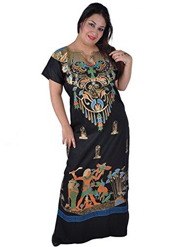 Cleopatra Pharao Kostüm Damen-Kaftan Faschingskostüm Karnevalskostüm Ägypterin, schwarz (XL (48-50))