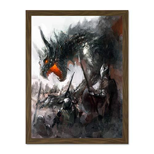 Painting Fantasy Dragon Battle Medieval Warrior Art Large Framed Art Print...