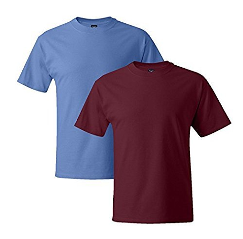 Hanes Mens 5180 Short Sleeve Beefy T, 1 Cardinal/1 Carolina Blue 1 Cardinal / 1 Carolina Blue