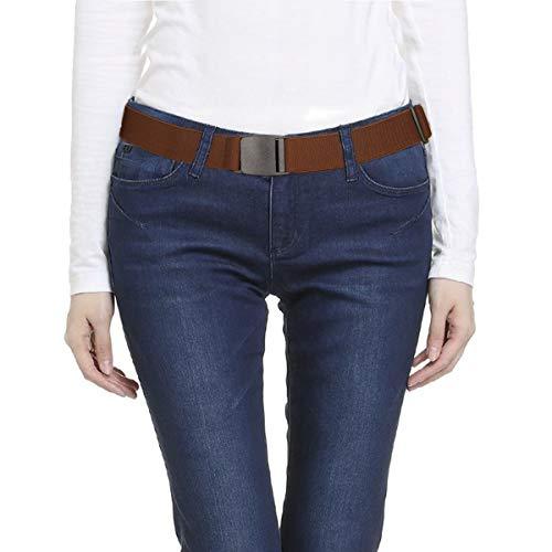 Lalafancy Cinturón de cintura elástica invisible Cinturón elástico de las mujeres con hebilla plana de plástico para pantalones jeans Uniformes (Café)