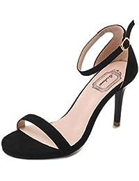 Solike Escarpin Femme Été Chaussure Bride Cheville Escarpin Sexy Talon  Aiguille Ouvert Bout Rond Boucle Club Soiree Sandales Femme Ete… 914c3c9ecc21