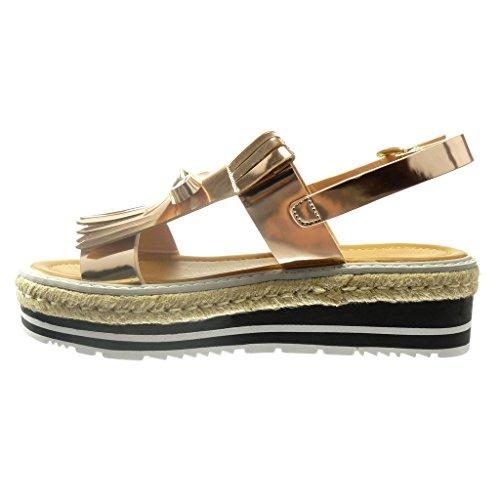 Angkorly Chaussure Mode Sandale Espadrille Plateforme Femme Frange Noeud Verni Talon Compensé 5 CM Champagne