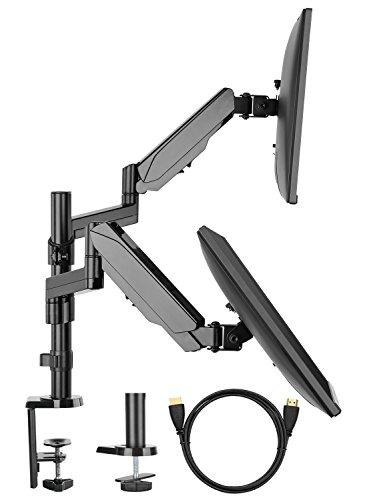 HuaNuo Supporto per Monitor a dobbio Braccio per TV tra 17 e 32 Pollici – Disposto per Il Montaggio con Morsetto da Montaggio passacavo e Morsetto a C - Ogni Braccio può sostenere Fino a 8 kg