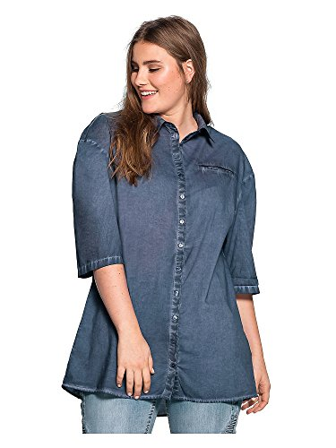 sheego Casual Femmes Blouse Grandes tailles 100 % coton Bleu