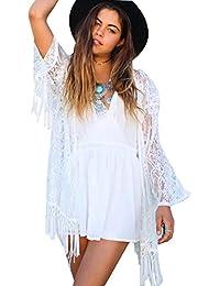 Imixcity Mujeres Praia de Encaje Kimono Cardigan Ganchillo de La Vendimia Borlas Mini Vestido Exóticas Protector Solar Ropa de…
