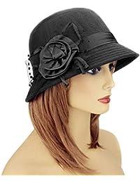 70904d66915 Lamdgbway Fedora Winter Hats Bucket Hat Flower Felt Cloche Hat Bowler Hats