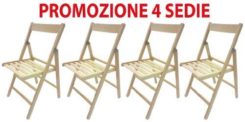 4 sedie pieghevole sedia birreria in legno naturale richiudibile per campeggio casa